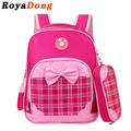 RoyaDong Children School Bags For Girls Boys Kids Fashion Bag Plaid Backpack Baby Bow Star Cute Mochila Escolar Sac A Dos Enfant