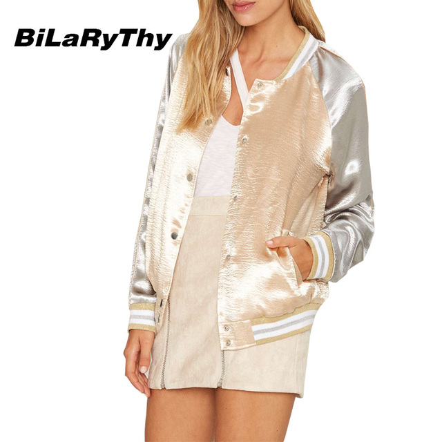 BiLaRyThy Moda Outono Mulheres Manga Comprida Cor Patchwork Fino Cetim Mulheres Jaqueta Bomber Básico Coats Outwear