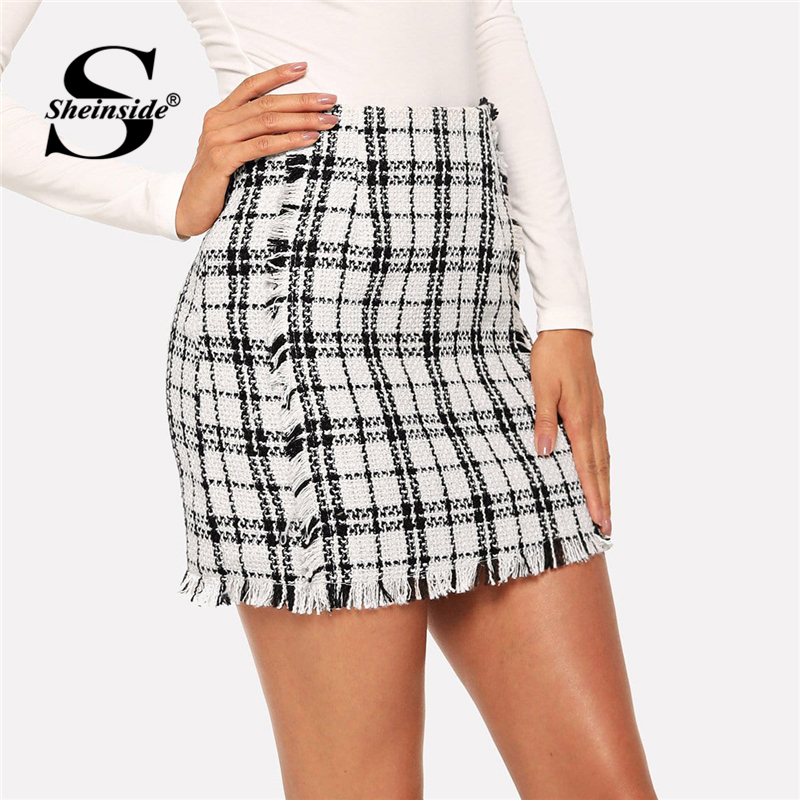 Sheinside Elegant Women Frayed Trim Tweed Skirt Office Ladies Bodycon Mini Skirts Womens Mid Waist Black And White Plaid Skirt Юбка
