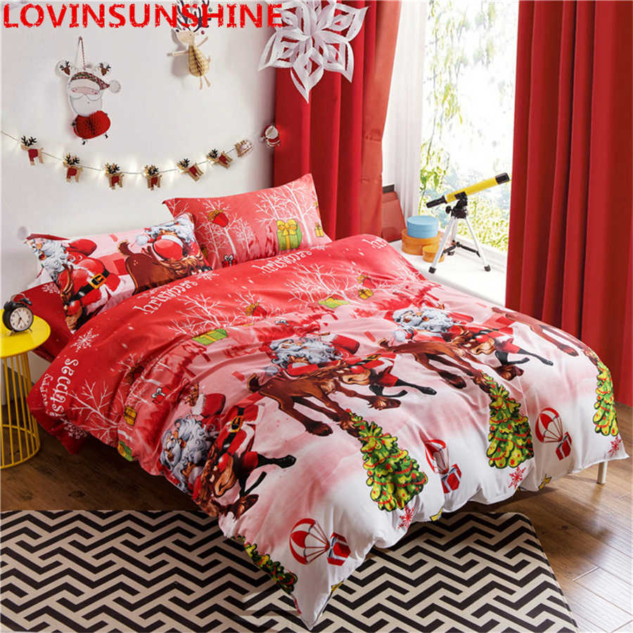 3D Christmas Bedding set 3pcs Bedclothes Queen/Twin/King Size Bedding Sets Red Color Santa Claus Bed Linen Christmas Decorations