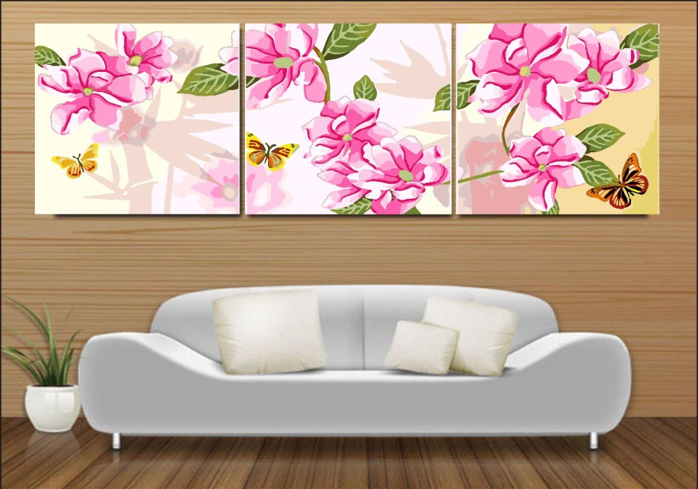 3 PCs Frameless FlowerS DIY Painting By Numbers Kit paintings for living room wall Coloring Painting By Numbers Home Decor