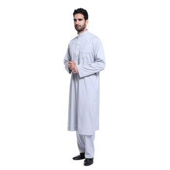 ee05427cf Moda 2018 Hombres estilo saudí Thobe Thoub Abaya bata daffa Dishdasha  islámico árabe Kaftan ropa musulmana para hombres caliente