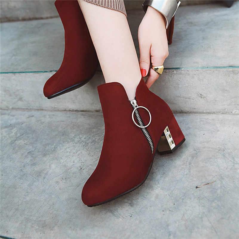 Meotina/женские ботинки осенние ботильоны короткие ботинки на молнии на высоком квадратном каблуке обувь с квадратным носком женская зимняя обувь; большие размеры 3-12; Botas mujer