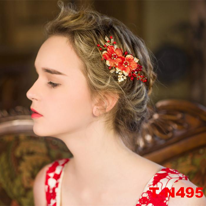 Bride Diaries Red Flower gold plating Hair Sticks Pearl Handmade Hair pin Fashion Bridal Hair Accessories