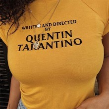 2018 New Summer tshirt Tees WRITTEN AND DIRECTED BY QUENTIN TARANTINO Letter Print Short Sleeve yellow t shirt 90s women shirt