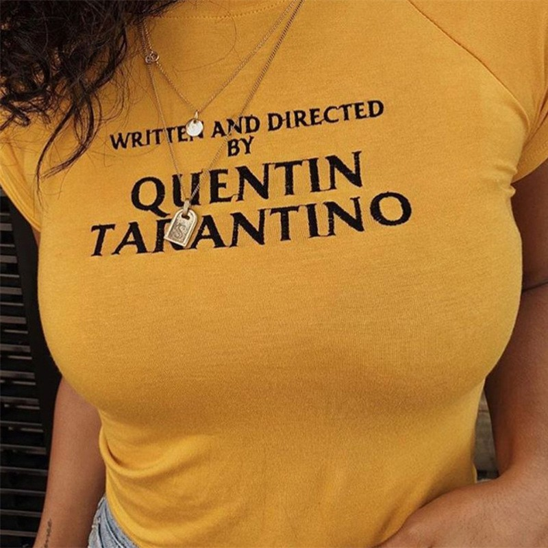 2018 New Summer tshirt Tees WRITTEN AND DIRECTED BY QUENTIN TARANTINO Letter Print Short Sleeve yellow t shirt 90s women shirt