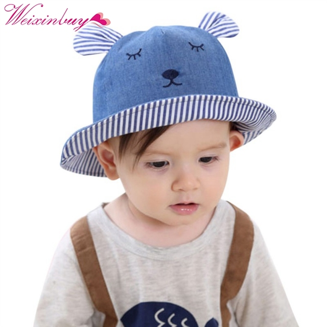3ea650242ba Summer Toddler Bear Cowboy Infant Hats Sun Cap Polka Dot Summer Outdoor  Baby Girl Hats Beach Bucket Sun Hat