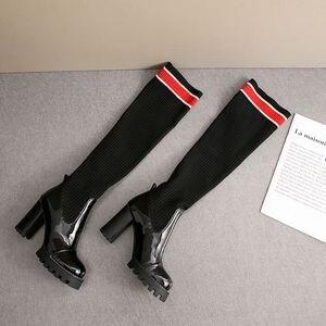 Image 5 - ALLBITEFO hakiki deri + Örgü yün kadın botları Yüksek kaliteli kadın moda yüksek topuk kadın diz yüksek çizmeler Sonbahar Kış