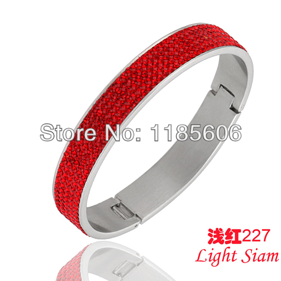Stainless steel bangles & bracelets women charms Rhinestone Crystal jewelry fashion holiday gifts - CRYSTAL BEADS store