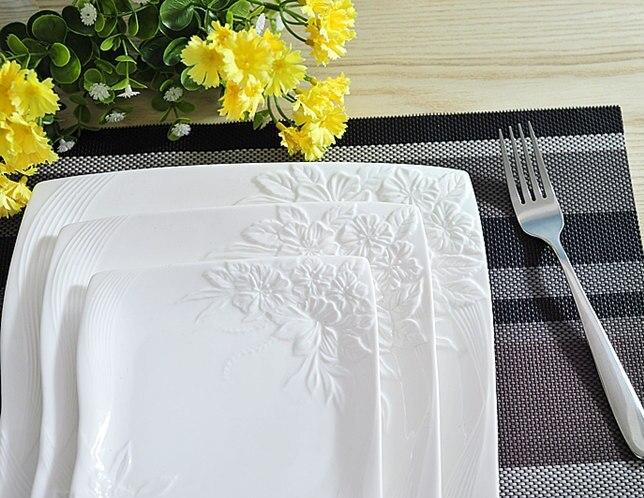Vaisselle de service décorative en porcelaine | Céramique estampée de fleur, service d'assiettes plates pour la salade de boeuf Steak Spaghetti 3/ensemble - 3