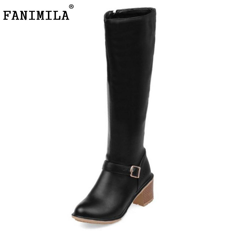 FANIMILA Women Square Heel Knee Boots Woman Round Toe Buckle Style Heels Shoes Ladies High Quality Knight Boots Size 34-43 enmayer green vintage knight boots for women new big size round toe flock knee high boots square heel fashion winter motorcycle