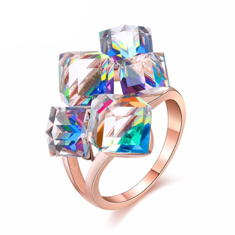 Korean Hot Fashion Three-dimensional Square Crystal Ring Adjustable Finger Ring Wedding Engagement Ring Jewelry for Women LB