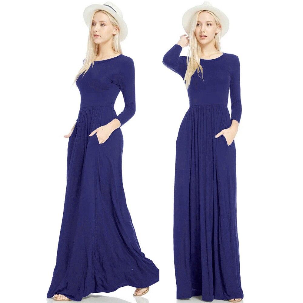 Women Long Sleeve Loose Plain Maxi Dresses Casual Long ...