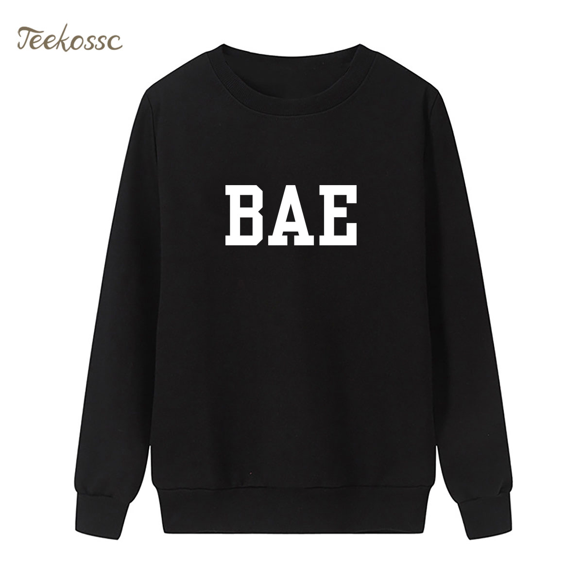 BAE Sweatshirt Letter Print Hoodie 2018 New Winter Autumn Women Lasdies Pullover Loose Fleece Streetwear Black White Sportswear