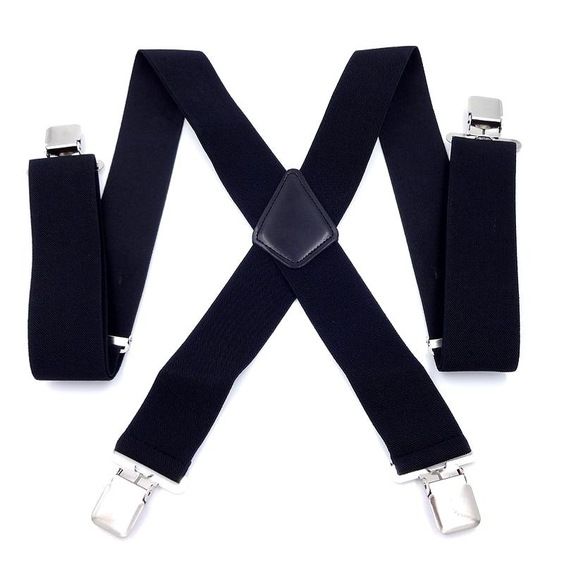Male Suspenders men 4 Clips 5*120cm Mens casual braces Elastic Pants tirantes Leather Belt Strap Clothing Accessories