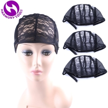 HARMONY 10 Pieces Black Brown Blonde glueless wig cap for making wigs with adjustable strap weave women hairnets easycap