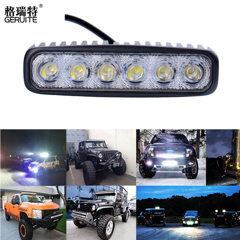 18W Flood LED Work Light ATV Off Road Light Lamp Fog Driving Light Bar For 4x4 Offroad SUV Car Truck Trailer Tractor UTV Vehicle 18w work lights spot lamp off road driving fog 6 led bar atv 4x4 truck suv car styling auto parts accessories
