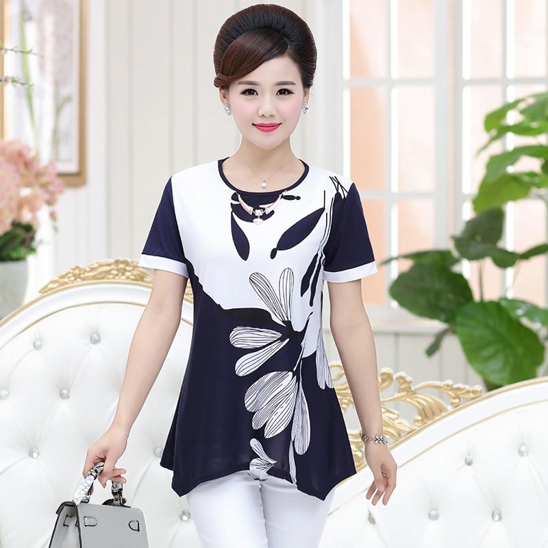 6b5882b345 NIFULLAN XL-4XL Plus Size Position Flower Print Women Shirts Fashion Mother  Clothing Short Sleeve Tops Casual Slim Pullover