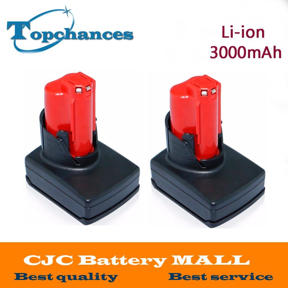 2PCS High Quality 12V 3000mA Li-ion Rechargeable Power Tool battery for Milwaukee M12 48-11-2411 48-11-2401 48-11-2402 C12 B C12