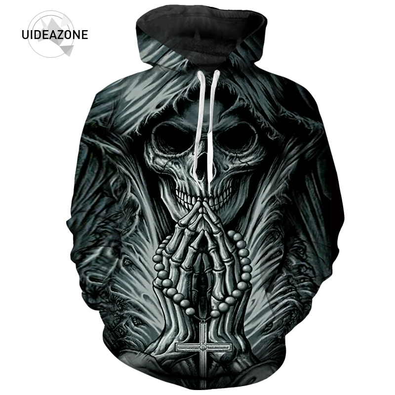 2018 New Arrive 3d Printed Grim Reaper Skull Tattoo Hoodies Men Women Fashion Autumn Sportswear Hooded Sweatshirt Dropship High Standard In Quality And Hygiene