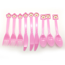10pcs/lot Unicorn Theme Happy Birthday Party Plastic Tableware Baby Shower Decoration Pink Spoons Kids Girls Favors Forks Knife