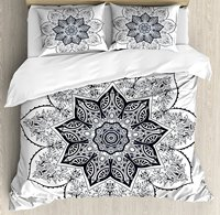 Lotus Duvet Cover Set, Ethnic Mandala Asian Style Spiritual Meditation Yoga Culture Bohemian Image, 4 Piece Bedding Set