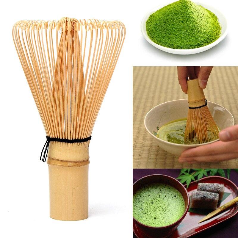 ญี่ปุ่นพิธีไม้ไผ่ 64 Matcha Powder WhiskชาเขียวChasenแปรงเครื่องมือชุดชาสีเขียวชุดชา
