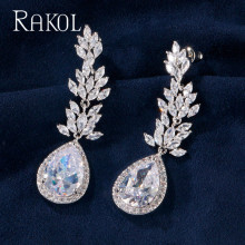 RAKOL Brand Luxury white Color Long Blue Crystal Wedding Bridal Drop Earring Fashion Cubic Zirconia Women Jewelry gulicx zircons elegant drop aaa cubic zirconia long big crystal bridal earring for wedding jewelry