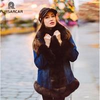 Fursarcar Latest Women Winter Outwear Real Fur Jacket Stylish Parka Real Fox Fur Lining Detachable Collar Hood Customized