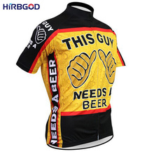 HIRBGOD 2016 new novelty cartoon this guy needs a beer men short bicycle cycling jerseys funny tops bike jersey clothing,NM104