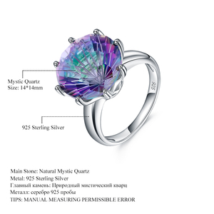 Image 5 - GEMS BALLET Classic Natural Rainbow Mystic Quartz Ring 925 Sterling Silver For Women Wedding Engagement Rings Fine Jewelry