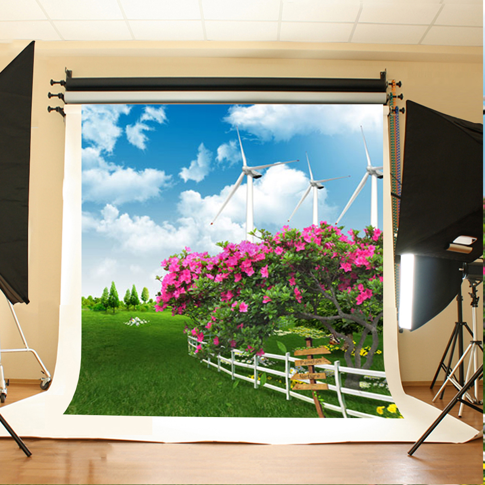 Wedding Background Blue Sky and White Clouds Birthday Backdrops Flowers and Grass Trees Backdrops for Photographic Studio blue sky чаша северный олень