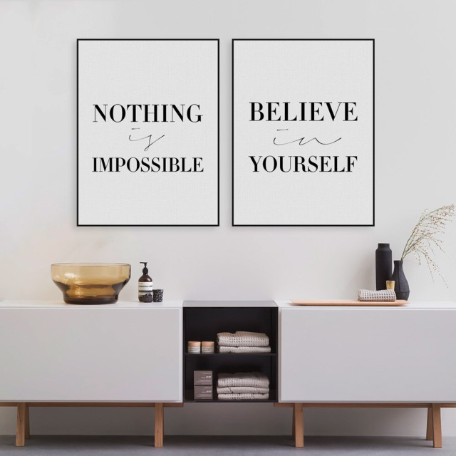 Black minimalist motivational typography believe quotes for Living room decor quotes