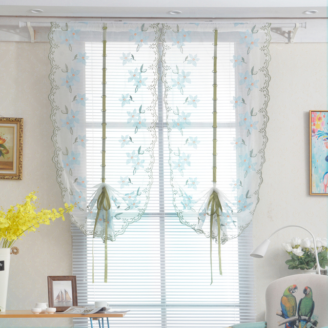 Decorative Curtain For Living Room Embroidered White Tulle Sheer Bathroom  Curtain Lifting Roll Up Kitchen Curtain