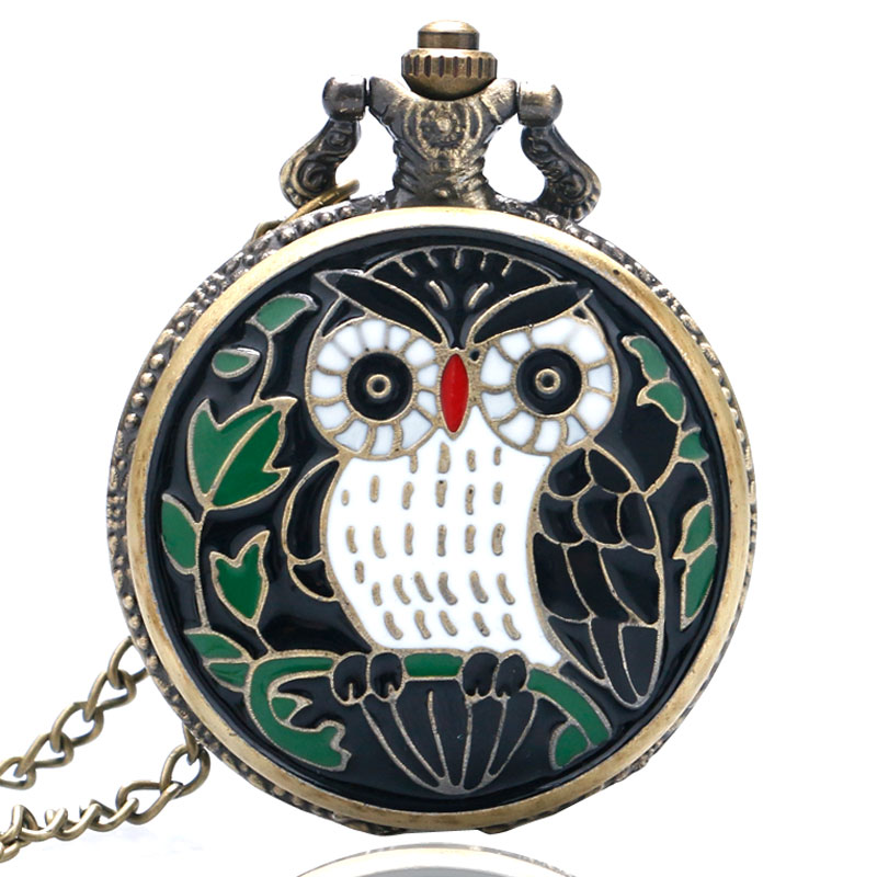 YISUYA  Vintage Classic Bronze Colorful Enamel Owl Pocket Watch Women Necklace Chain Pendant Steampunk P31
