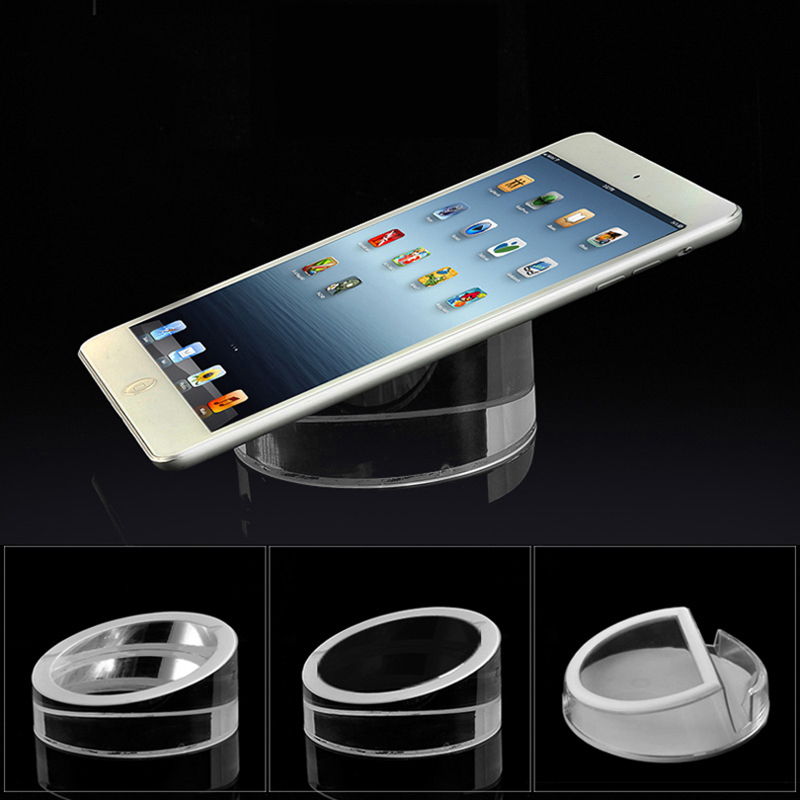 Acrylic security Ipad stand tablet display holder round clear base for apple samsung shop tablet pc anti-theft exhibit and sale high quality acrylic holder for cellphone display stand 14 19cm
