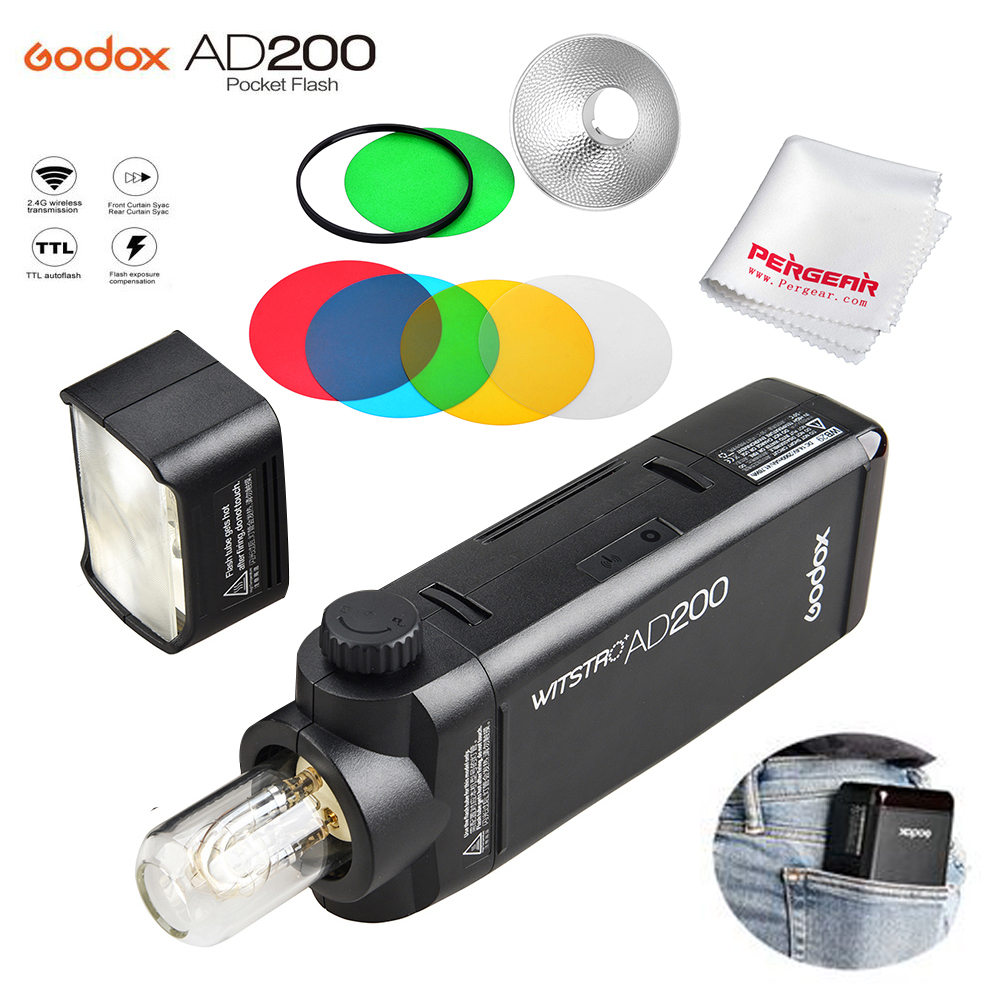 Godox AD200 200Ws 2.4G TTL Flash Strobe 1/8000 HSS Cordless Monolight 2900mAh Battery / Bare Bulb 500 Full Power Shots + AD-M godox ad200 200ws 2 4g ttl flash strobe 1 8000 hss cordless monolight