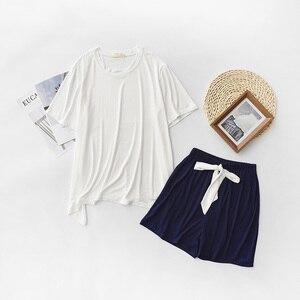 Image 5 - Yaz ve sonbahar kadın pijama konfor yumuşak Modal pijama seti yuvarlak yaka düz renk 2 adet üstleri + pantolon/şort gevşek ev tekstili