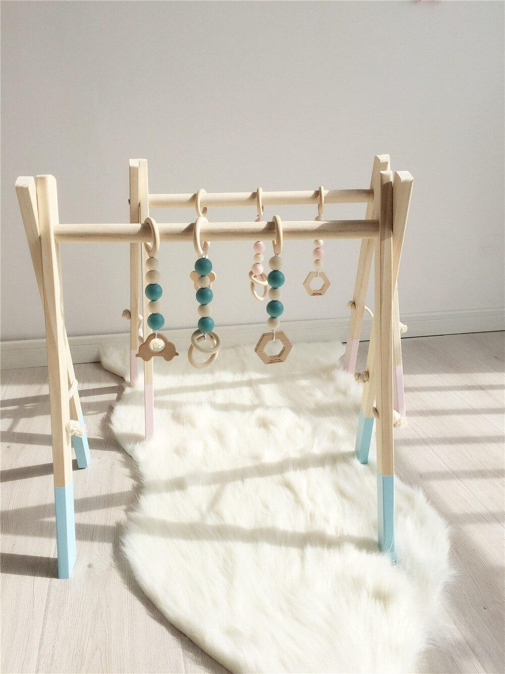 Nordique en bois bébé Gym avec accessoires jouer Gym jouet pépinière décor sensoriel enfant chambre décor photographie accessoires