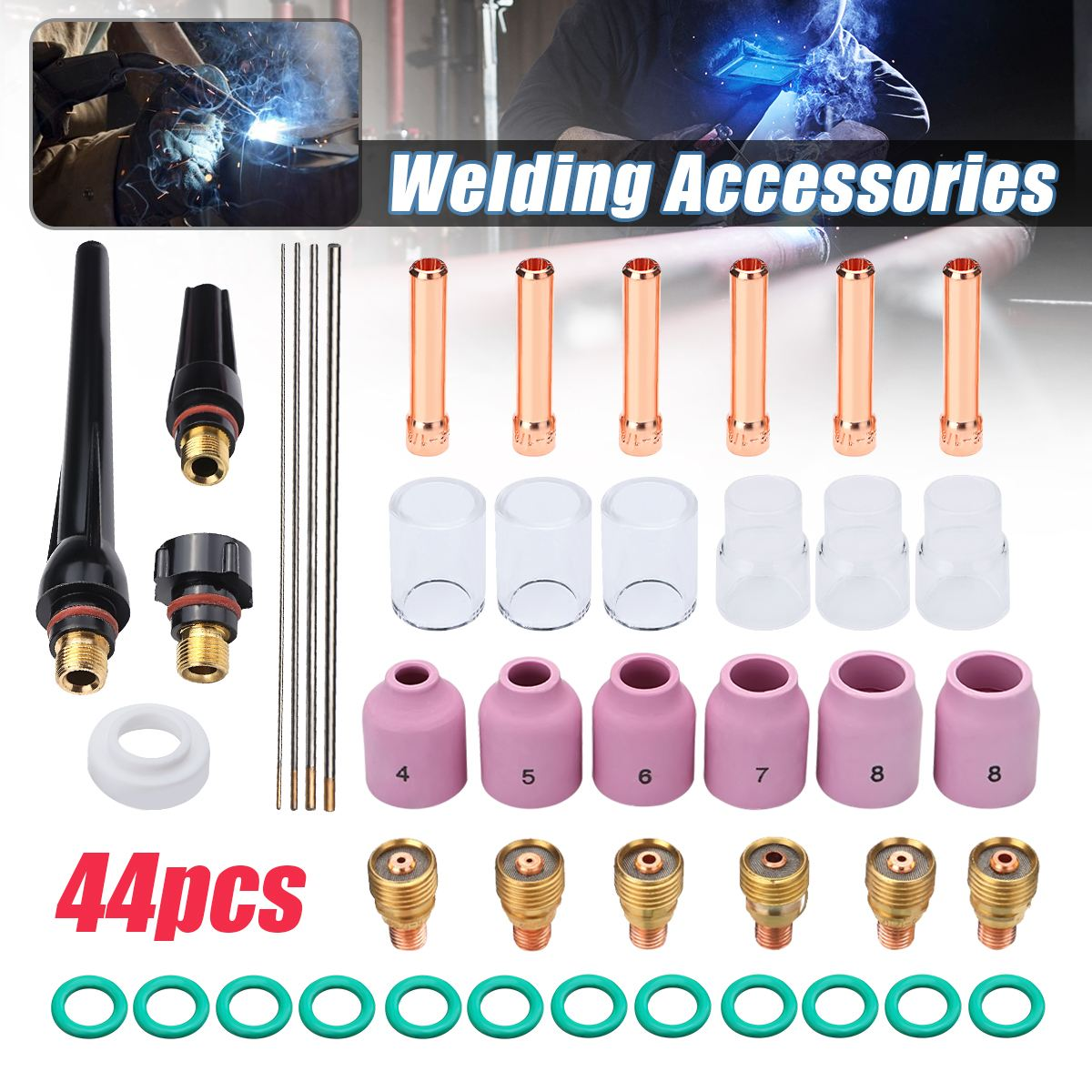 44Pcs Durable TIG Welding Torch Stubby Tig Gas Lens #10 Pyrex Glass Cup Kit For Tig WP-9/20/25 Series Mayitr Welding Accessories 15pcs tig welding accessories gas lens 12 pyrex cup welding torch kit for 1 16 wp 9 20 25 series
