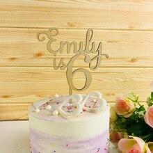 개인화 된 목조 생일 축하 케이크 토퍼, 사용자 정의 이름과 나이 아크릴 골드 미러, 생일 케이크 토퍼 파티 장식