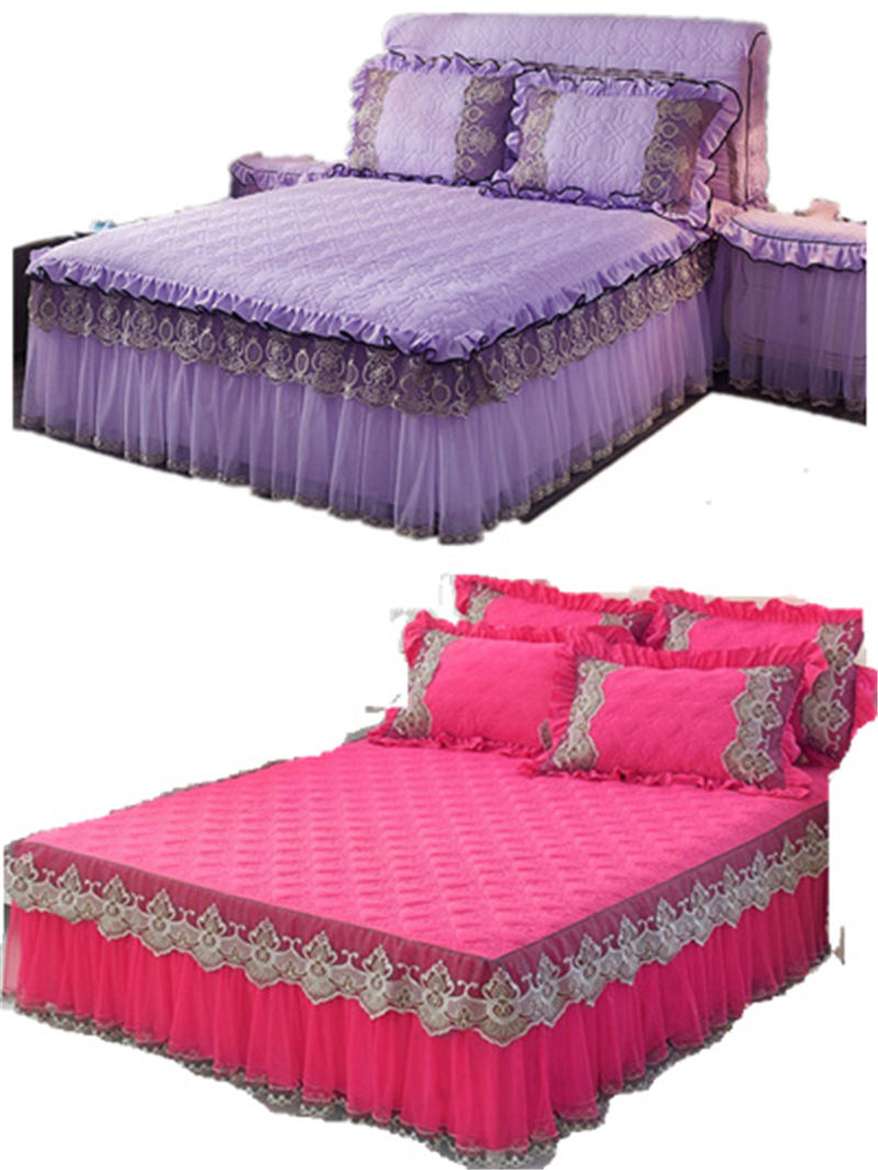 Gray beige blue luxury lace bedding bed skirt set polyester cotton padded bed cover lace pillowcase