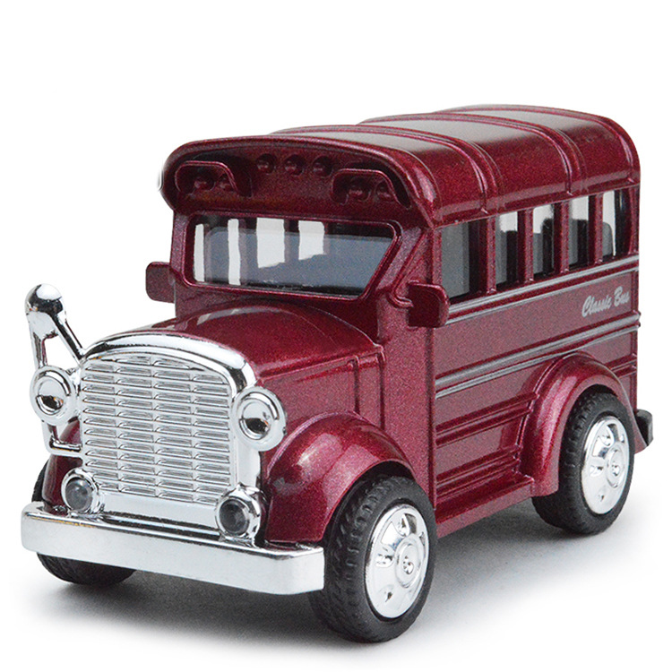 Retro School Bus Alloy Sound And Light Recovery Model Children's Toy Car Pull Back Flashing Sound  Kid's Toys Birthday Gift 1:43