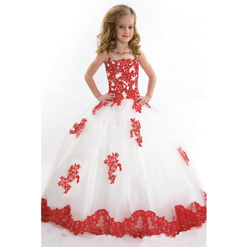 2016 Cute Ball Gown Girl's Pageant Dresses Beaded Appliques Floor Length Flower Girls Dresses Formal Occasion Dresses