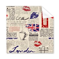 5 Pcs Newspaper Lips Kiss Coffee UK England Landmark Flag Illustration Pattern Glasses Cloth Cleaning Cloth