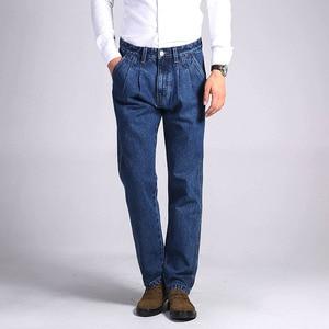Image 2 - TIGER CASTLE Mens 100% Cotton Thick Jeans Denim Pants Fashion Blue Baggy Male Overalls Classic Long Quality Spring Autumn Jeans