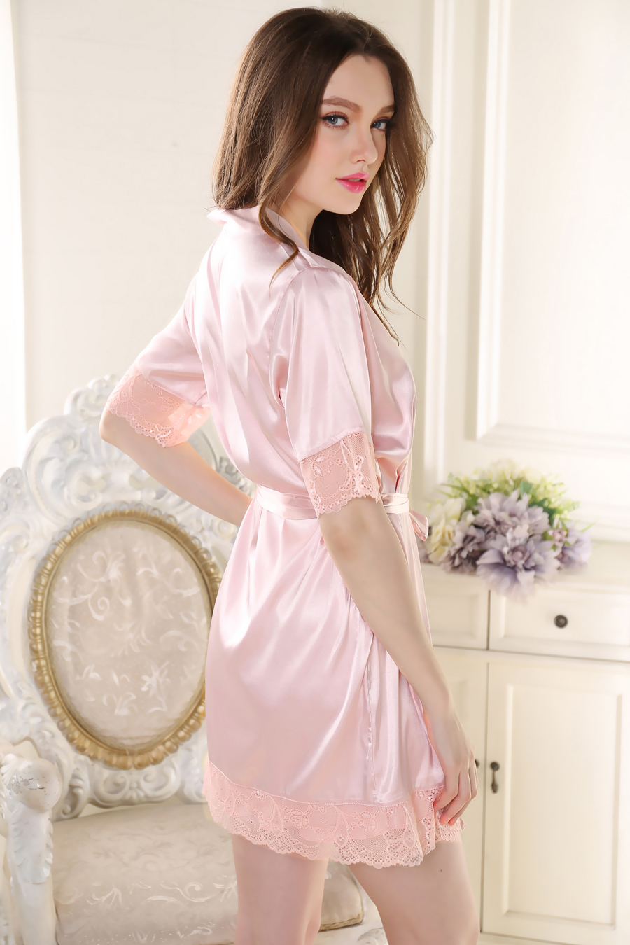 Loungewear nightgowns sets Sexy silk women pure Silk Noble women night Lace  pajamas Gift! robe dress Satin nightgown bathrobe-in Robe   Gown Sets from  ... deafd6972