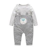 High Quality Baby Boy Clothes Newborn Baby Boy Cotton Stripe Romper Bear Suspender Trousers 2pcs Clothing