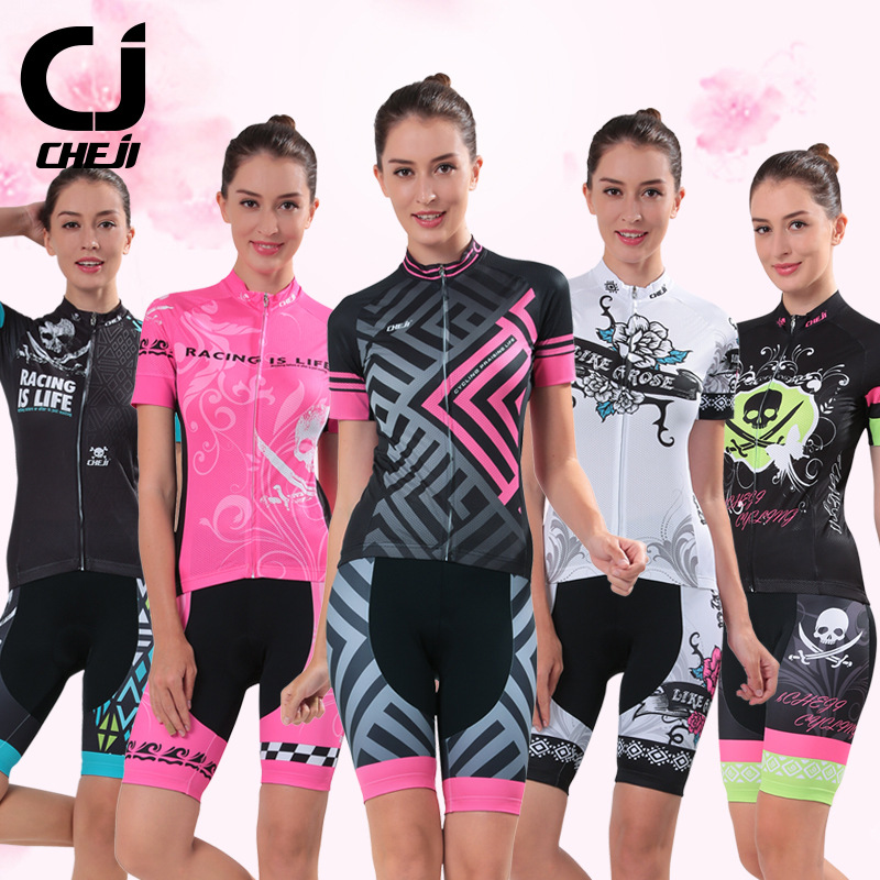 Womens CHEJI Cycling Jersey Short Sets For Lady Biking Sportswear MTB Clothing Summer Quick Dry Shirts and GEL Pad Shorts 2017