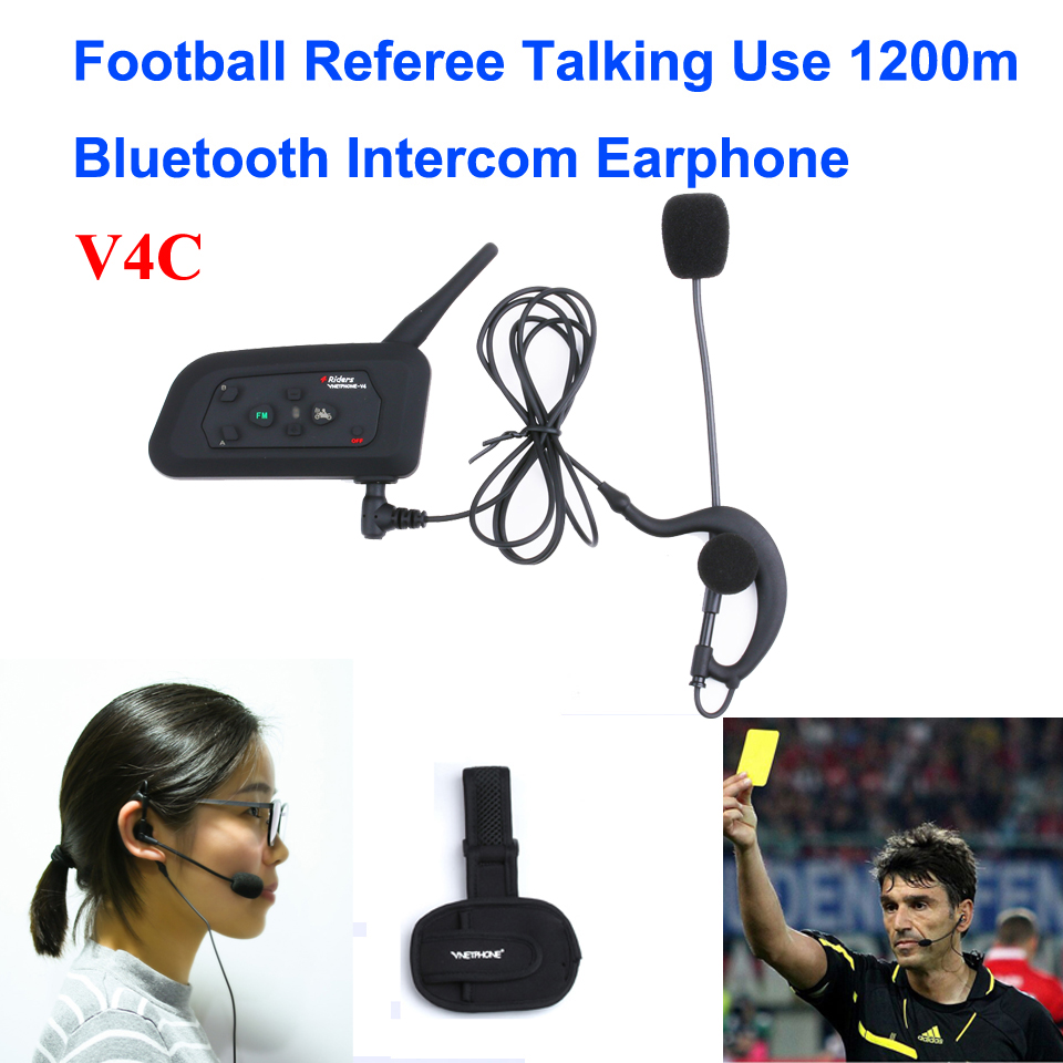 1PCS 1200M 4 User To Speak At The Same Time Intercom Football Referee Headset Full Duplex Bluetooth Intercom V4C Interphone v6c direct factory full duplex two user real time communication for basketball football match referee interphone 2pcs package